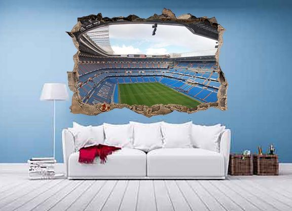 Zebra vinilos 3d bernabeu real madrid vinilo 3d estadio for Pegatinas murales pared