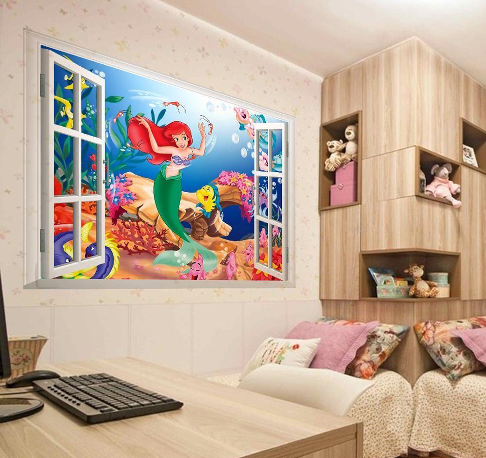 vinilo sirenita pared habitacion niña