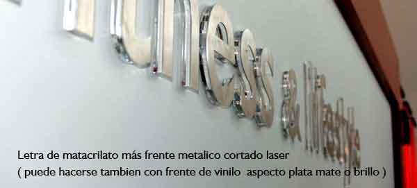Letras corporeas de metacrilato transparente mas frente metal corte laser