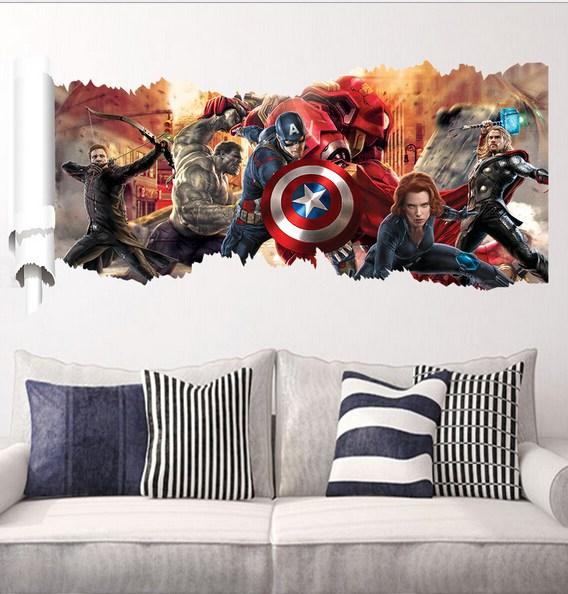 super heroes capitan america thor vinilo pared